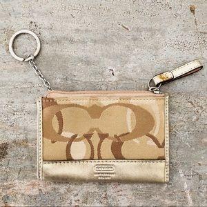 ♥️ Coach ♥️ Tan & Gold Keychain Pouch